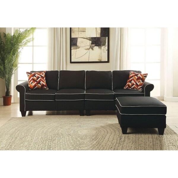 Shop Plunge Black Brown Fabric Modular Sectional Sofa Set