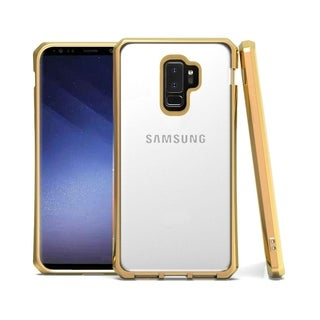 Insten Electroplated Frame 1.8mm Thick Shockproof Hard Snap-in Transparent Case Cover Compatible with Samsung Galaxy S9 Plus S9+