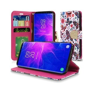 Insten Butterfly Flower Polka Dot Floral Stand Leather Wallet Flap Case Cover w/Diamond for Samsung Galaxy Note 9