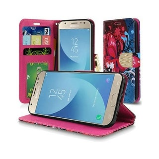 Insten Red/Blue Butterfly Bliss Stand Folio Flip Leather Wallet Flap Pouch Case Cover With Diamond for Samsung Galaxy J3 (2018)