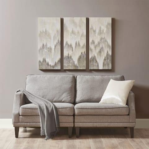 Madison Park Sterling Mist Grey 100-percent Hand Brush Embellished Canvas 3 Piece Set