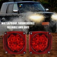 Pair Square Truck Taillights 12V Waterproof Side Marker LED Tail Light