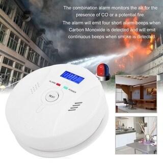 LCD Monoxide Smoke Alarm CO And Smoke Detector High Sensitive Smoke Fire Alarm - White