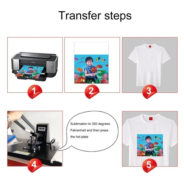 100PCS A4 Sublimation ink Heat Transfer  Paper for Mug Polyester Cotton T-Shirt