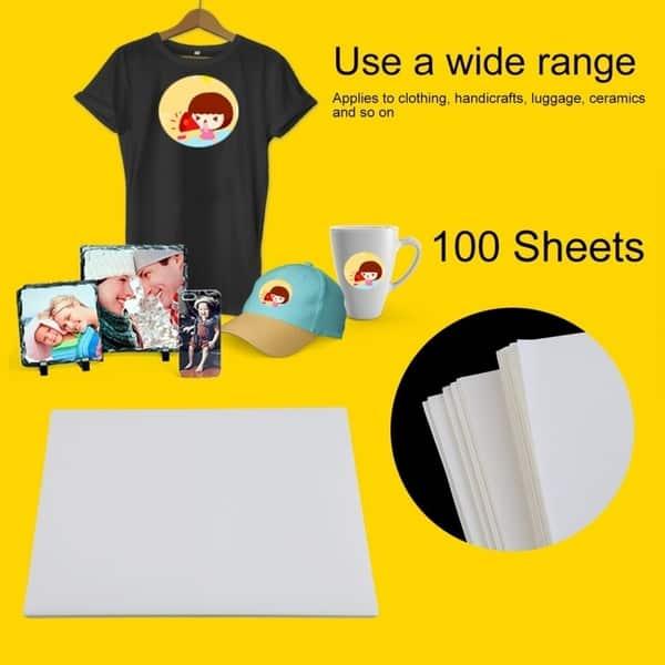 Shop 100 PCS A4 Sublimation Print Paper Polyester Cotton T