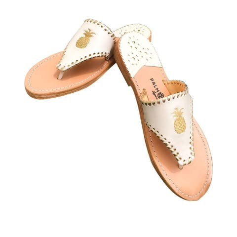Palm Beach Tropical Handcrafted Monogram Leather Sandals - Shell/Gold, Size 5.5