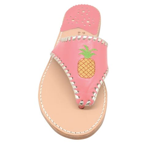 Palm Beach Tropical Handcrafted Monogram Leather Sandals - Melon/Pale Gold, Size 7.5