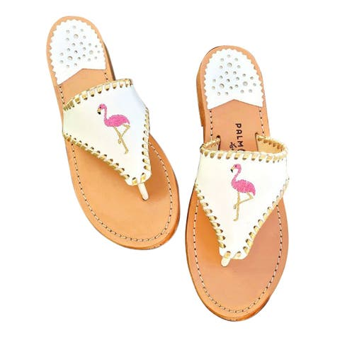 Palm Beach Tropical Handcrafted Monogram Leather Sandals - White/Gold, Size 6.5