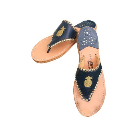Palm Beach Tropical Handcrafted Monogram Leather Sandals - Navy/Gold, Size 8.5
