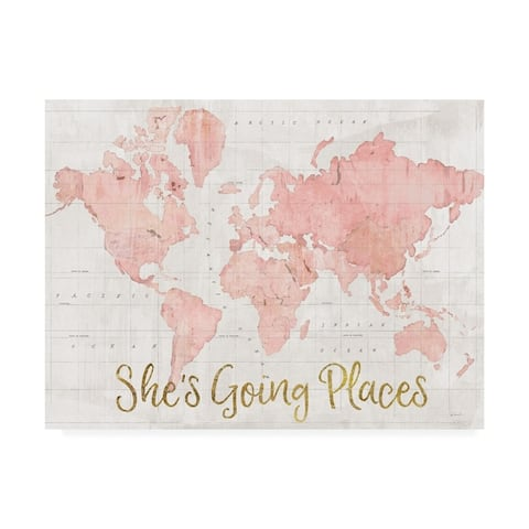 Sue Schlabach 'Across The World Shes Going Places Pink' Canvas Art