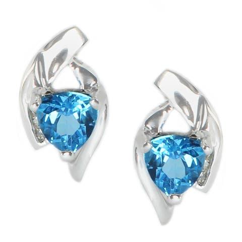 Michael Valitutti 14K White Gold Trillion Swiss Blue Topaz & Diamond Earrings