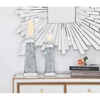 12.2in. Modernized Silver Crystal Candleholder