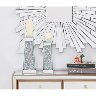 14in. Contemporary Silver Crystal Candleholder