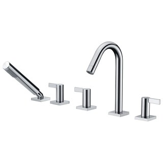 ANZZI Snow 3-Handle Deck-Mount Roman Tub Faucet with Handheld Sprayer in Polished Chrome