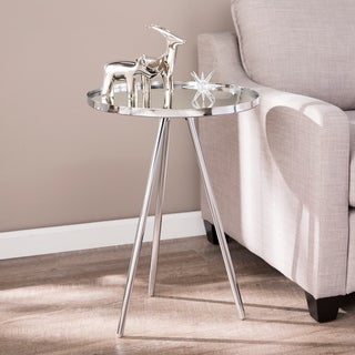 Silver Orchid Hinding Mirror Top Accent Table