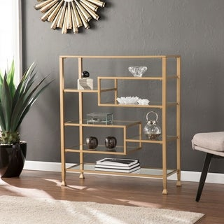 Silver Orchid Price Metal/Glass Wide Etagere/Bookcase