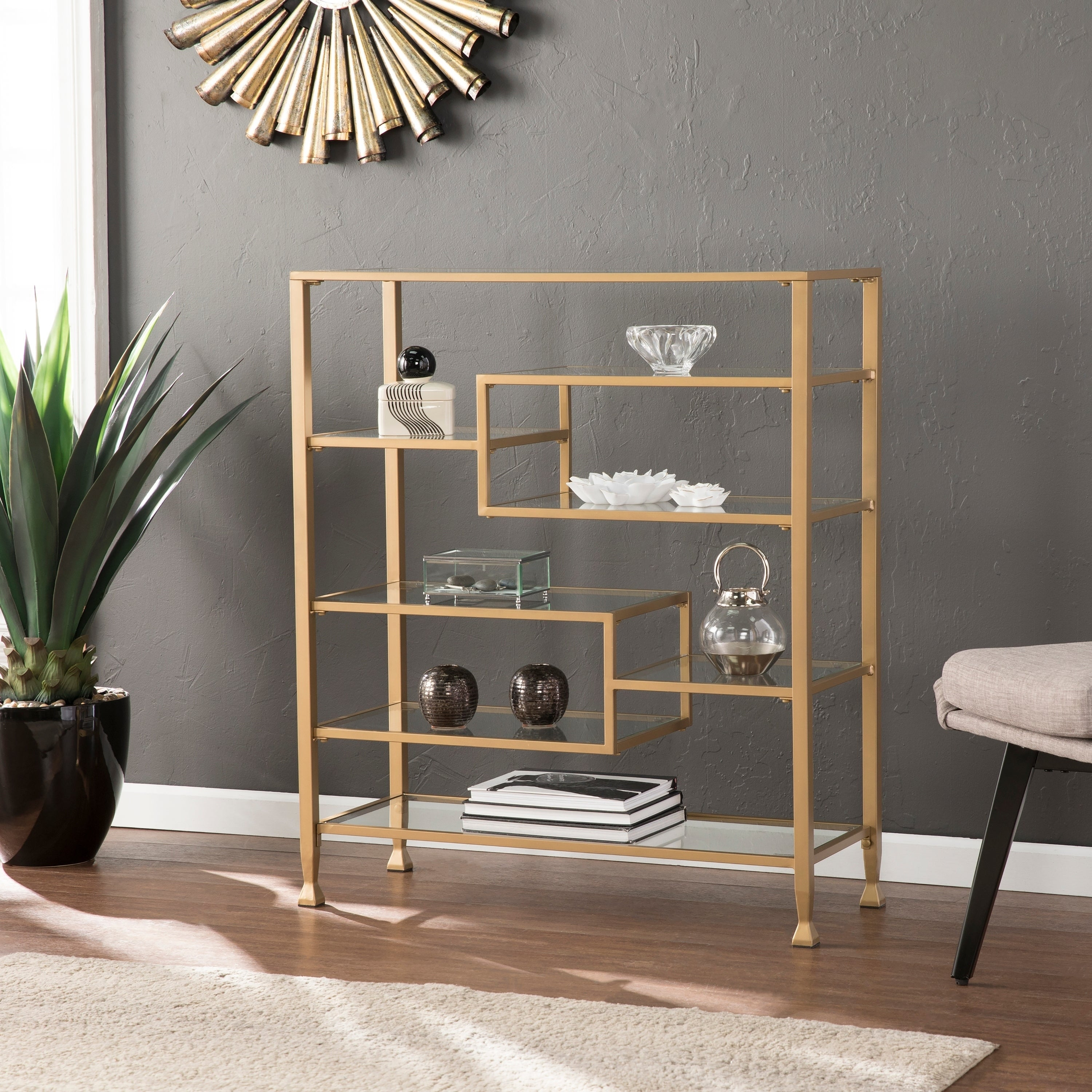 Silver Orchid Price Metal Glass Wide Etagere Bookcase
