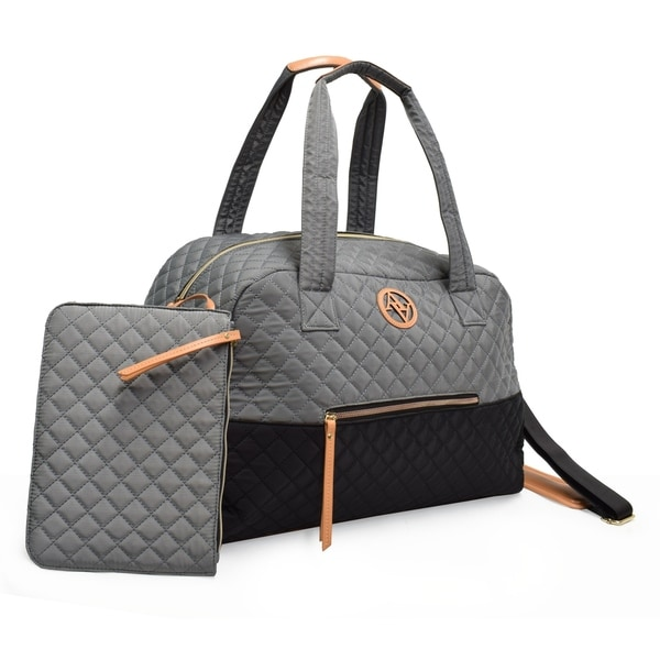Shop Adrienne Vittadini Diamond Quilted 20 Quot Duffel Gray
