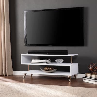 SEI Furniture Malsby Sills White Low Profile TV Stand