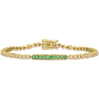 Miadora 14k Yellow Gold Emerald and 3/4ct TDW Diamond Stationed Bar Tennis Bracelet