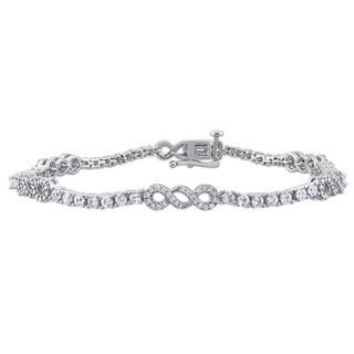 Miadora 10k White Gold 1/2ct TDW Diamond and White Sapphire Infinity Station Tennis Bracelet