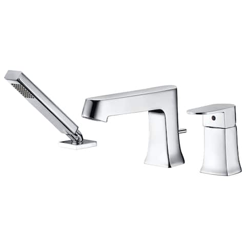 ANZZI Rin Single-Handle Deck-Mount Roman Tub Faucet with Handheld Sprayer in Polished Chrome - Silver