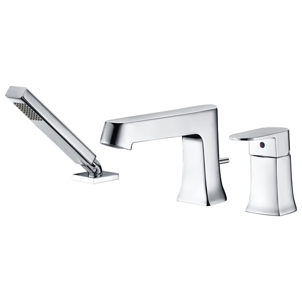 ANZZI Rin Single-Handle Deck-Mount Roman Tub Faucet with Handheld Sprayer in Polished Chrome - Silver. Opens flyout.