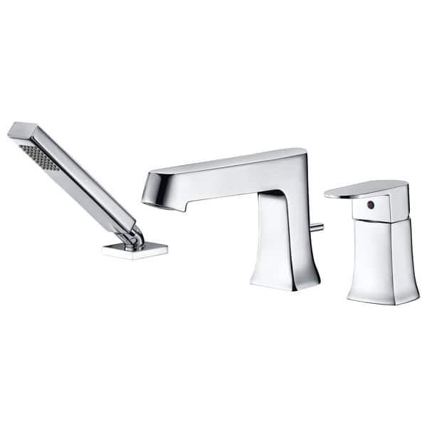 Anzzi Rin Single Handle Deck Mount Roman Tub Faucet With Handheld Sprayer In Polished Chrome Silver Overstock 25451023