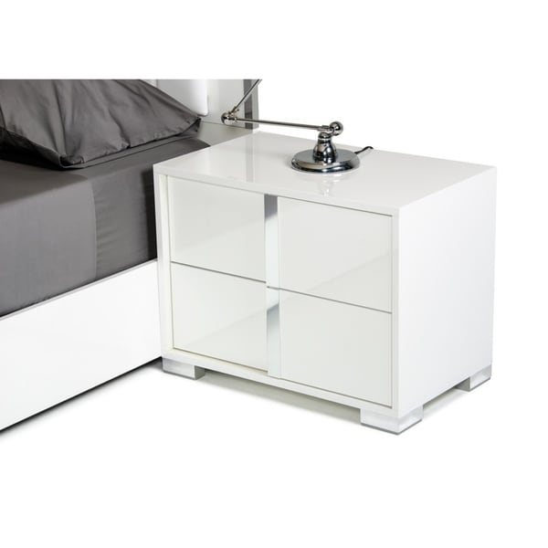 shop modrest san marino modern white nightstand on sale free shipping today. Black Bedroom Furniture Sets. Home Design Ideas