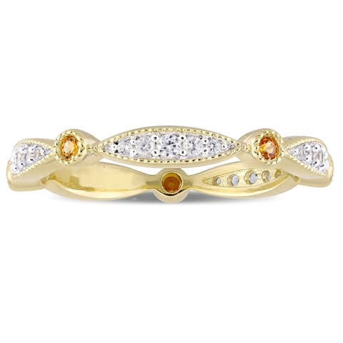 Miadora Yellow Plated Sterling Silver Created Yellow and Created White Sapphire Anniversary Band