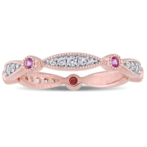 Miadora Rose Plated Sterling Silver Created Pink and Created White Sapphire Anniversary Band