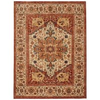 Handmade Herat Oriental Indo Hand-knotted Serapi Wool Rug (7'10 x 10') - 7'10 x 10'