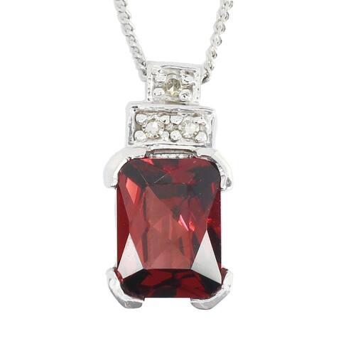 Gems en Vogue 10K White Gold Garnet & Diamond Pendant