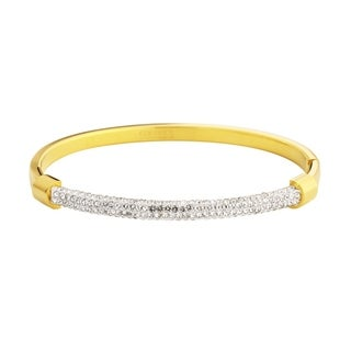 """Gold-Plated Stainless Steel Hypoallergenic Link Hook Closure Cuff Bangle Bracelet for Women, 7.5"""""""