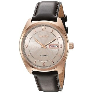Seiko Men's SNKN72 Recraft Rose Gold-Tone and Brown Leather Automatic Watch