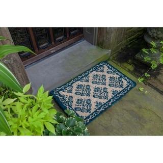 Williamsburg Tulip Damask Handwoven Coconut Fiber Doormat