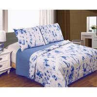 Tie Dye Technique Cotton Blue Cloud Quilt Set