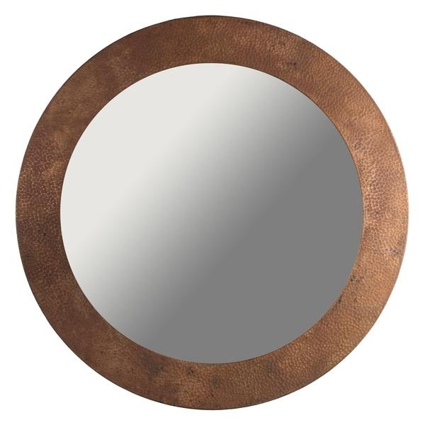 "Handmade 34"" Hammered Antique Copper Mirror (Mexico)"