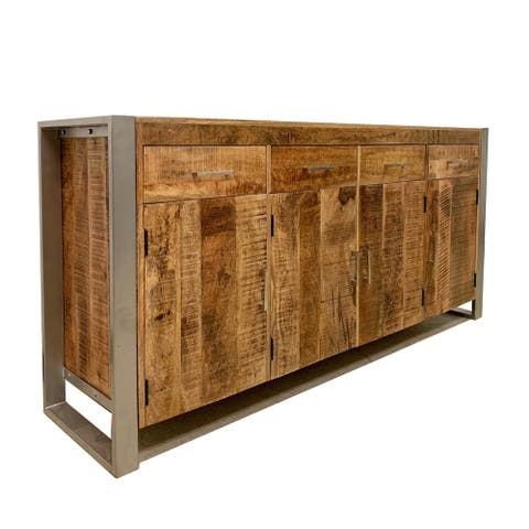 """Handmade Reclaimed Wood Sideboard with Silver Legs (India) - 35"""" x 71"""" x 18"""""""