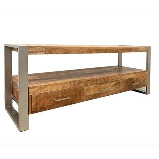 Industrial Reclaimed wood 3 Drawer TV stand with silver legs