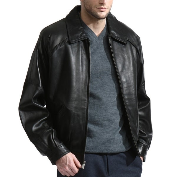 Men's Premium Lambskin Leather Bomber with Raglan sleeves (As Is Item). Opens flyout.