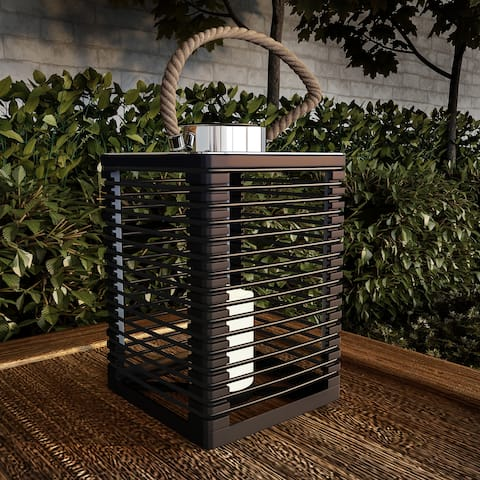 Solar Powered Lantern with LED Flameless Candle by Pure Garden