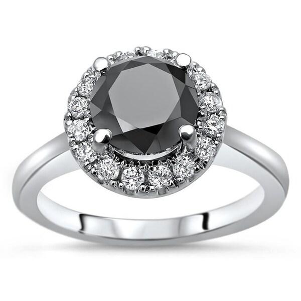9mm Wedding Band 1 4 Ct Tw Black Diamonds Stainless Steel: Shop Noori 1 & 3/4ct Black Round Diamond Halo Engagement