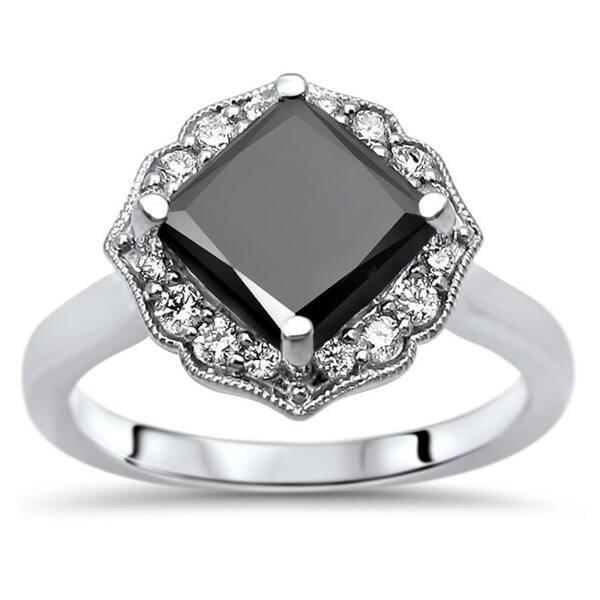 2fda401752f85 Shop 2ct Black Princess Cut Diamond Kite Set Engagement Ring 14k ...