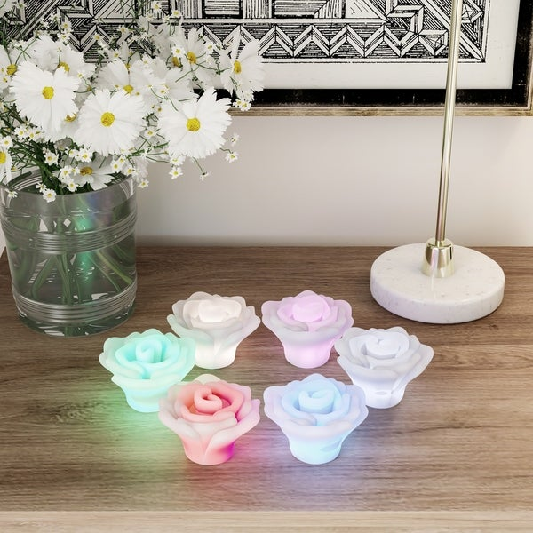 LED Rose Shaped Color Changing Lights- 6 Piece Set Flower Design Flameless Lighting Accents for Home Décor by Lavish Home