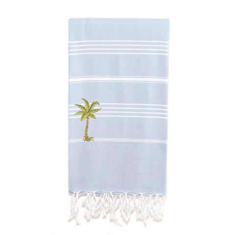 Authentic Palm Tree Pestemal Striped Assorted Colors Turkish Cotton Beach Towel