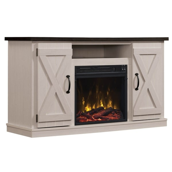 shop cottonwood fireplace tv stand for tvs up to 55 two tone free shipping today overstock. Black Bedroom Furniture Sets. Home Design Ideas