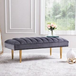 Link to Abbyson Kate Channel Tufted Rectangle Velvet Bench Similar Items in Living Room Furniture