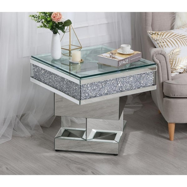 Shop Tempered Glass Square Crystal Mirrored End Table