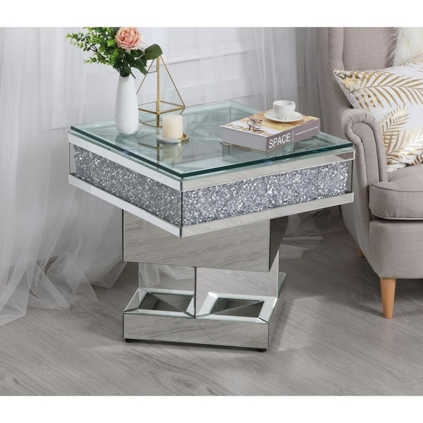 Square Coffee Table Tempered Glass: Shop Tempered Glass Square Crystal Mirrored End Table